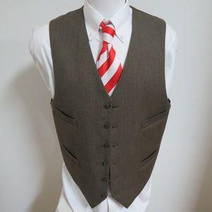 Sz 43 Brown Solid Mens 100% Wool #04K Suit Vest